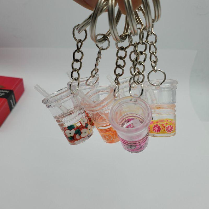 Simulation Mini Fruit Drink Milk Tea Cup Keychain  NHDI282611