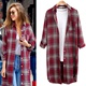 new plus size women's mid-length sun protection plaid shirt jacket NHIS284597