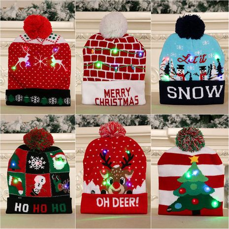 New  knitted woolen colorful luminous knitted  Christmas hat NHMV282639's discount tags