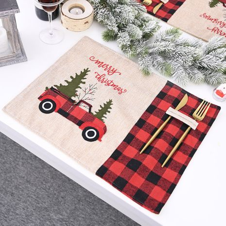 Red  Black Plaid Car Christmas Placemat Cartoon Tablecloth Table Mats  NHHB282682's discount tags