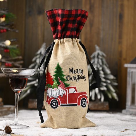 new Christmas  linen lattice wine bottle bag wine cover NHHB282705's discount tags