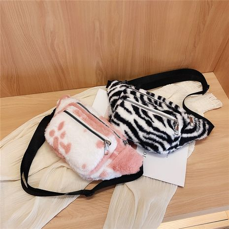 Plush simple pocket casual chest bag NHRU282733's discount tags
