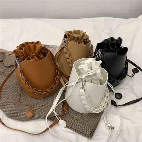 new korean fashion all-match simple  messenger solid color bucket bag  NHLH282744's discount tags