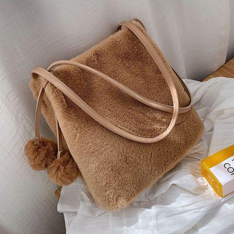 Korea  furry one-shoulder  cute plush handbag NHLH282767's discount tags