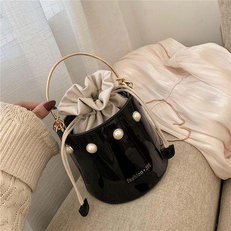 New  patent leather PU bucket drawstring handbag  NHJZ282914's discount tags