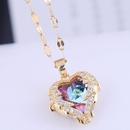 Fashion Inlaid Zirconium Angel Heart Necklace NHSC283068