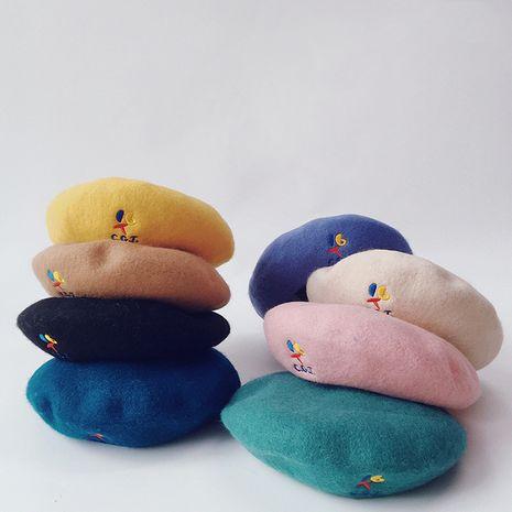 sombrero de moda de dibujos animados de boina de lana para niños bordado de letras NHQU282451's discount tags