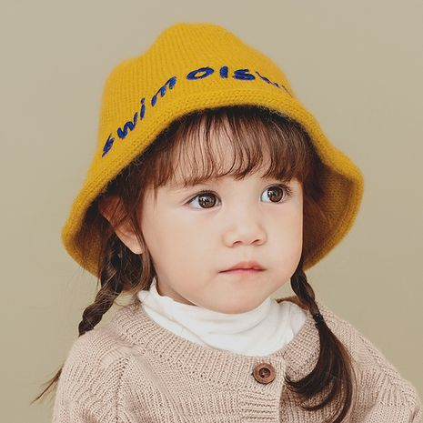 gorro de pescador de punto para niños con bordado de alfabeto color caramelo NHQU282441's discount tags