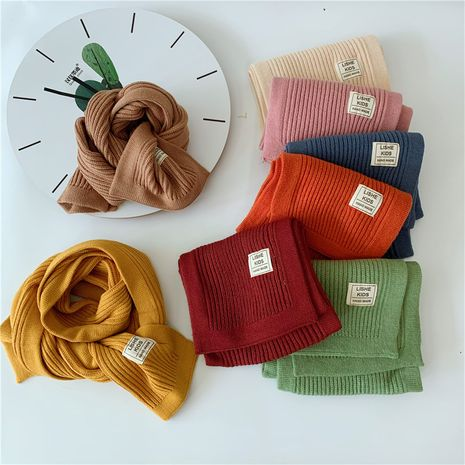 simple solid color cloth label scarf candy color warm baby wild children's knitted scarf NHQU282438's discount tags