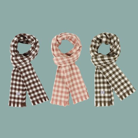 Retro plaid Korean fashion warmth scarf  NHTQ279210's discount tags