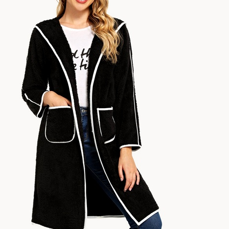 casual solid color double-faced fleece color matching long-sleeved mid-length cardigan sweater NHUO284570's discount tags