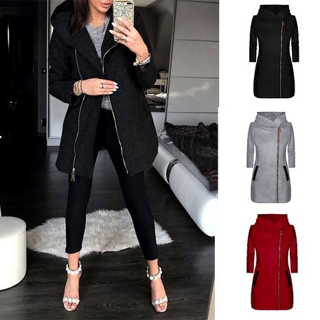 Fashion side zipper plus fleece coat hooded jacket sweater  NHJC284560's discount tags