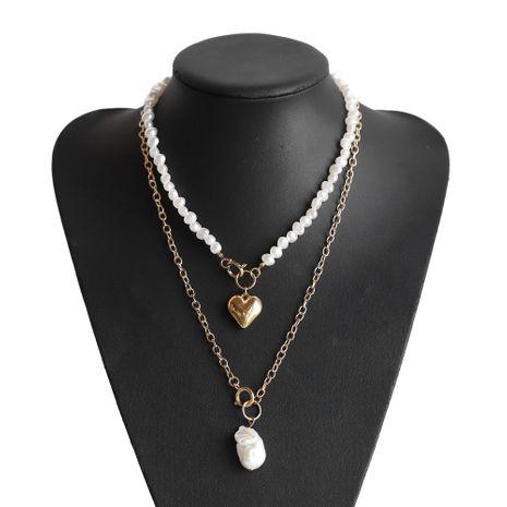 collier coeur pêche perle double épaisseur NHJQ283080's discount tags