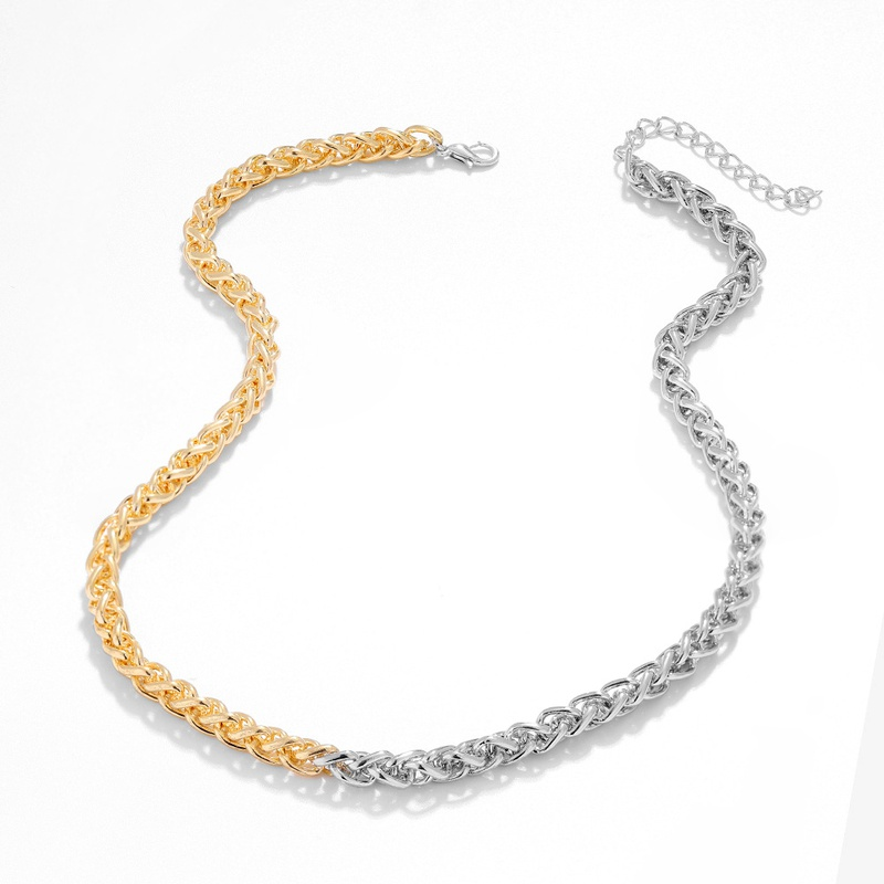 Cuban chain two-color necklace  NHJQ283088