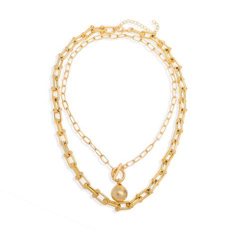 Collier double perles rondes rétro baroque français NHJQ283091's discount tags