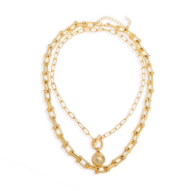 French retro baroque double round beads  necklace NHJQ283091
