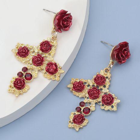 rose flower cross alloy diamond rhinestone earrings  NHJE283097's discount tags