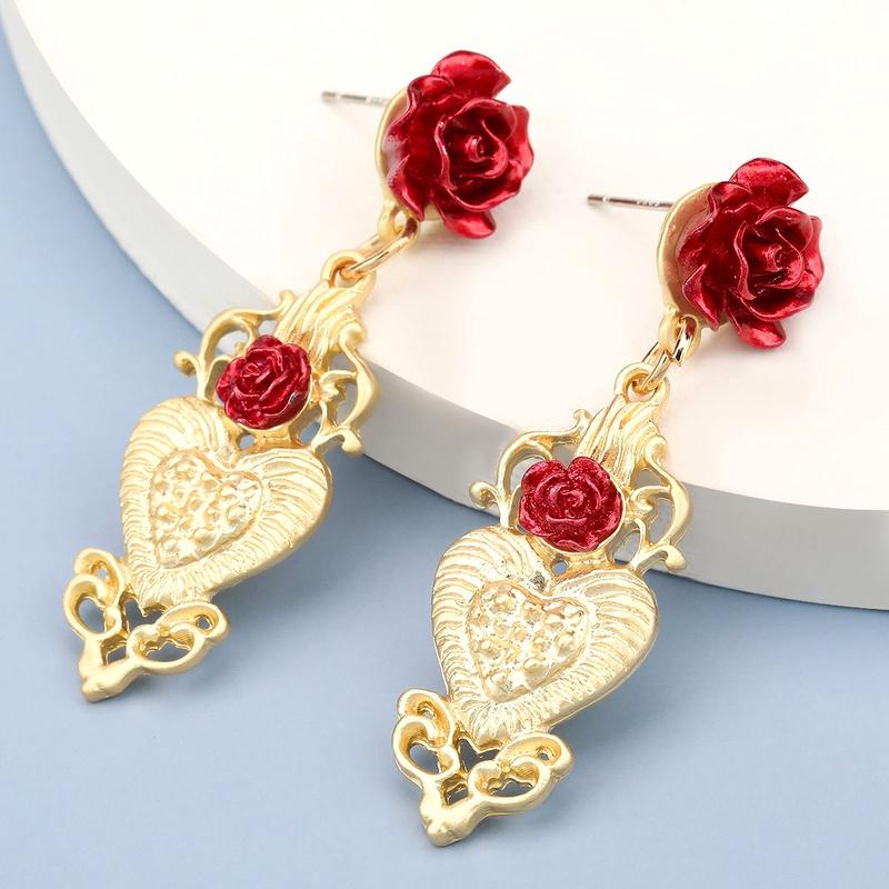 retro heartshaped alloy rose earrings  NHJE283103