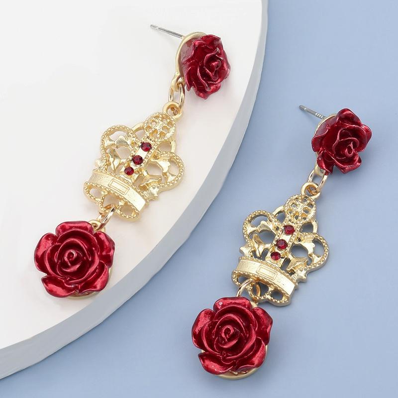 hollow crown rose alloy earrings NHJE283105