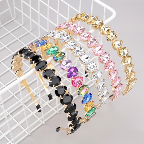 diadema de cristal en forma de gota ovalada de diamantes de aleación NHJE283111's discount tags