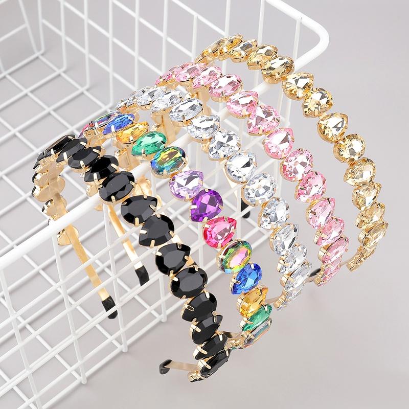 alloy diamond oval drop-shaped glass headband NHJE283111