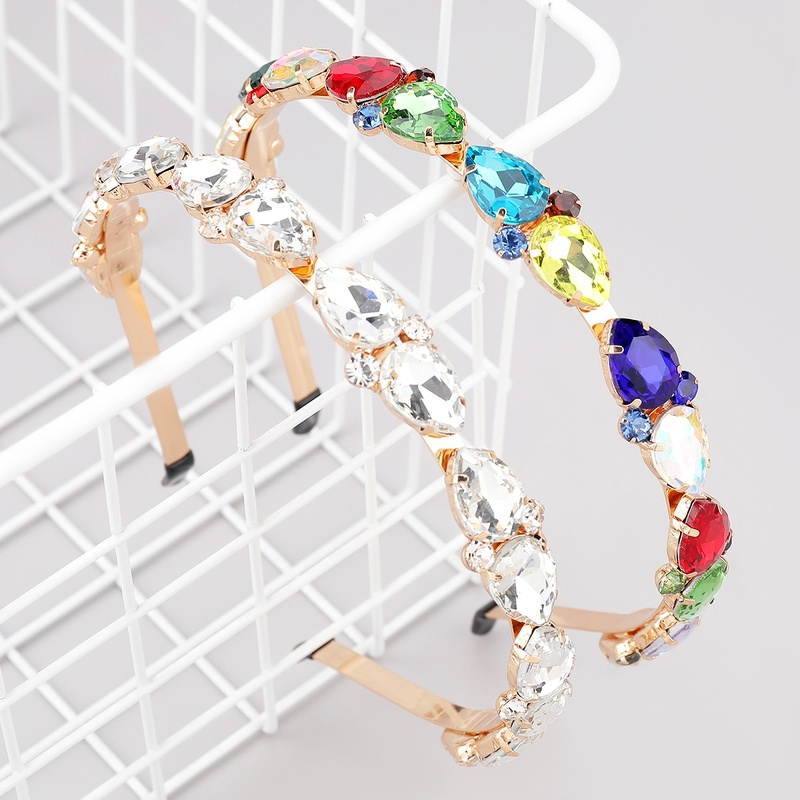 alloy diamond-studded drop-shaped glass headband  NHJE283112