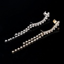 Rhinestone Asymmetric Tassel Crystal Stud Earrings NHYE283133