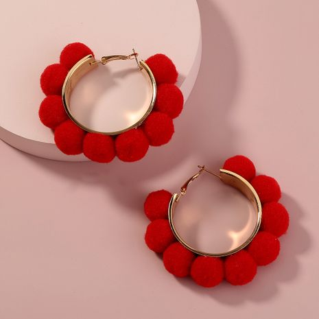 red fur ball earrings NHAN283138's discount tags