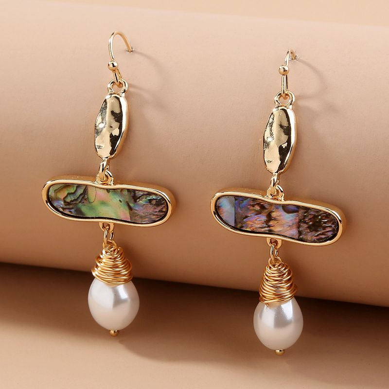 retro shell pearl earrings  NHAN283161