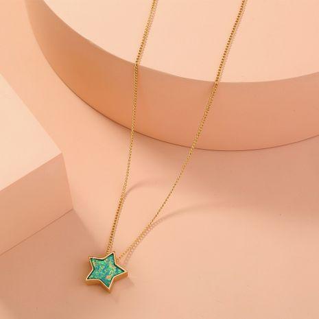 collier étoile simple à cinq branches en résine verte NHAN283167's discount tags