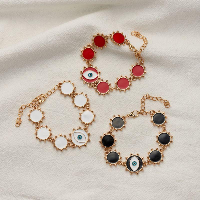 simple alloy round demon eye bracelet NHOA283173