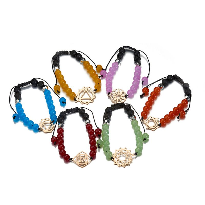 colorful geometric stainless steel pendant beaded bracelet NHOA283179