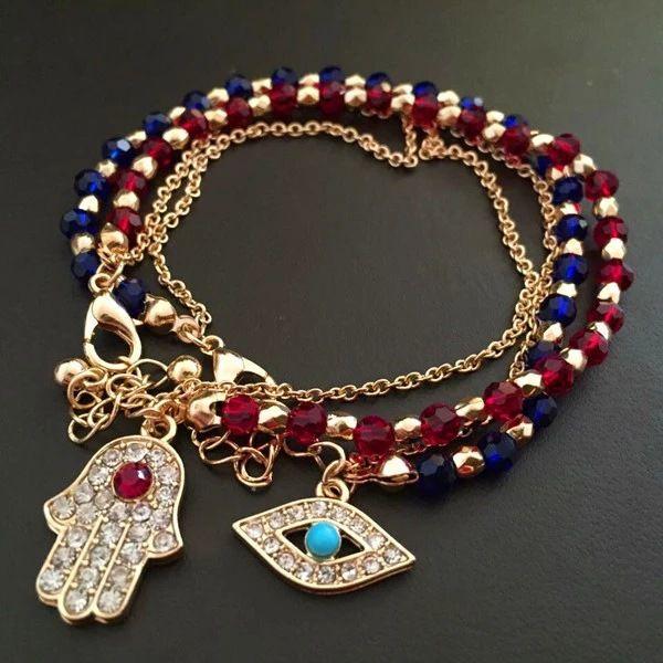 glass crystal beaded palm demon eye bracelet NHOA283180
