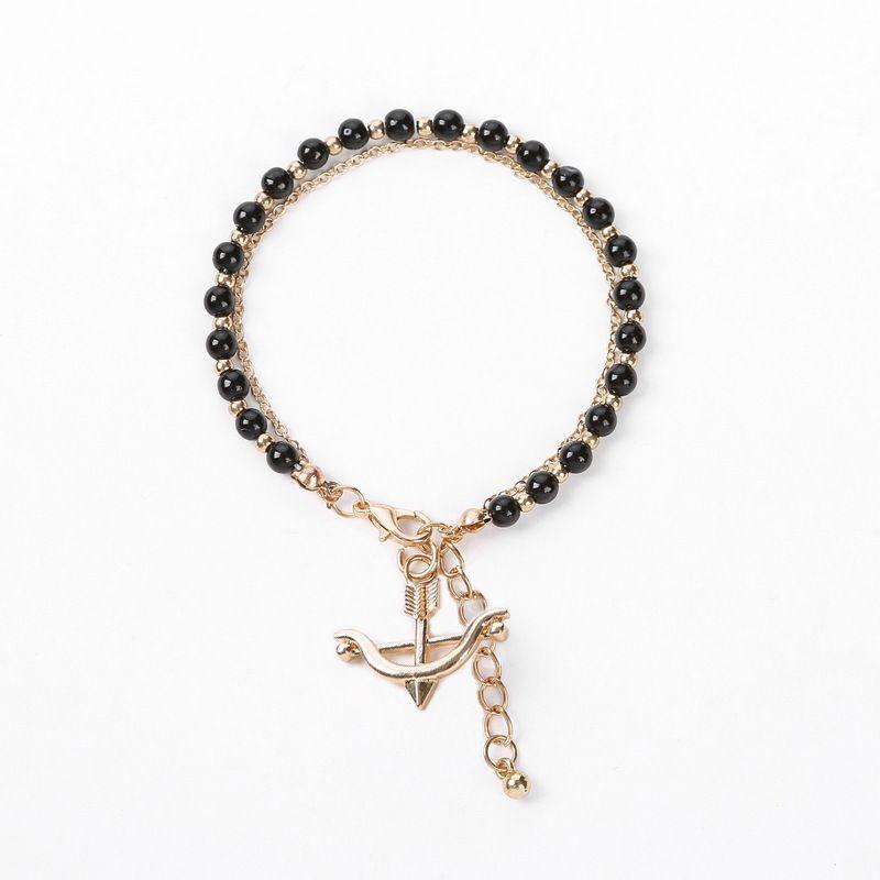 multicolor glass crystal beaded alloy anchor bracelet NHOA283183
