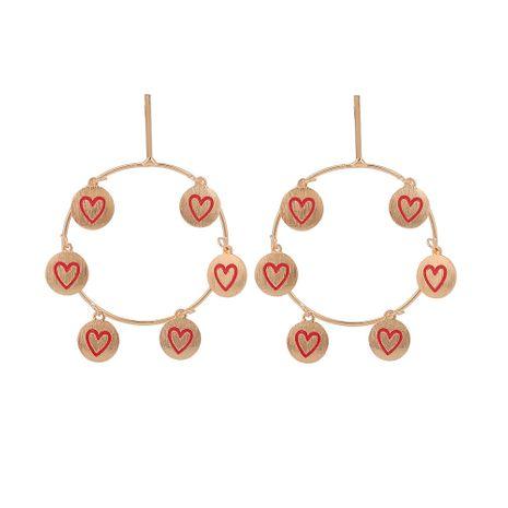 grandes boucles d'oreilles rondes en alliage coeur feuille NHOA283192's discount tags