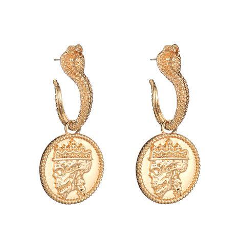 aretes retro con retrato de calavera y corona de serpiente NHOA283201's discount tags