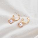 pearl alloy round pendant baroque earrings NHOA283205