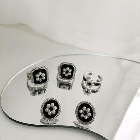 new square retro  pearl flower ring  NHYQ283219's discount tags