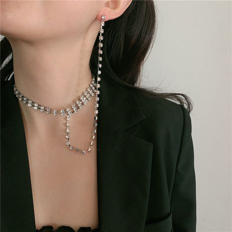 collier à chaîne diamant multicouche NHYQ283231's discount tags