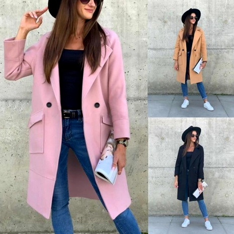 New  long-sleeved suit collar solid color woolen coat NHUO284558's discount tags