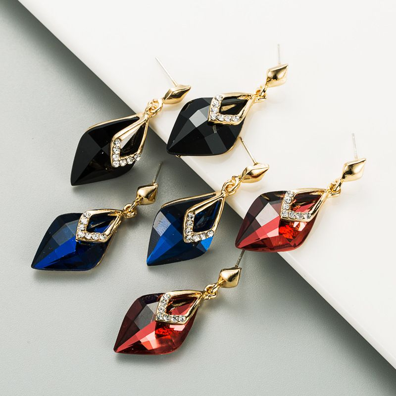 S925 silver needle crystal alloy inlaid rhinestone earrings  NHLN283250