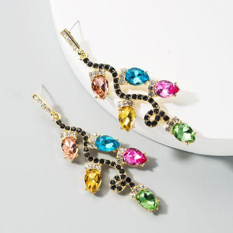alloy rhinestone flower retro leaf earrings  NHLN283257's discount tags