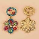 diamondstudded colorful round G flower earrings NHJJ283276