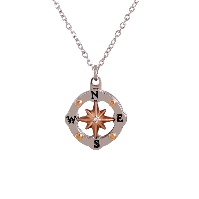 Mirror Stainless Steel Round Hollow Compass necklace  NHJJ283279