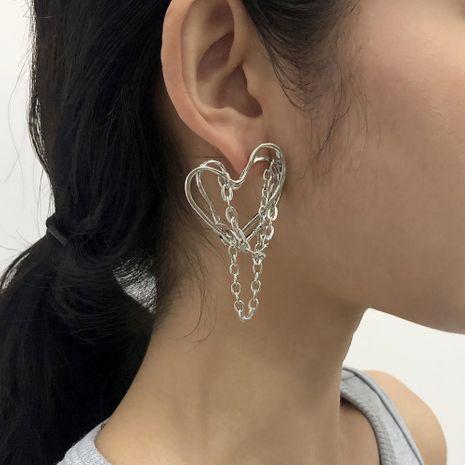 irregular tassel fashion punk heart-shaped retro earrings NHMD283283's discount tags