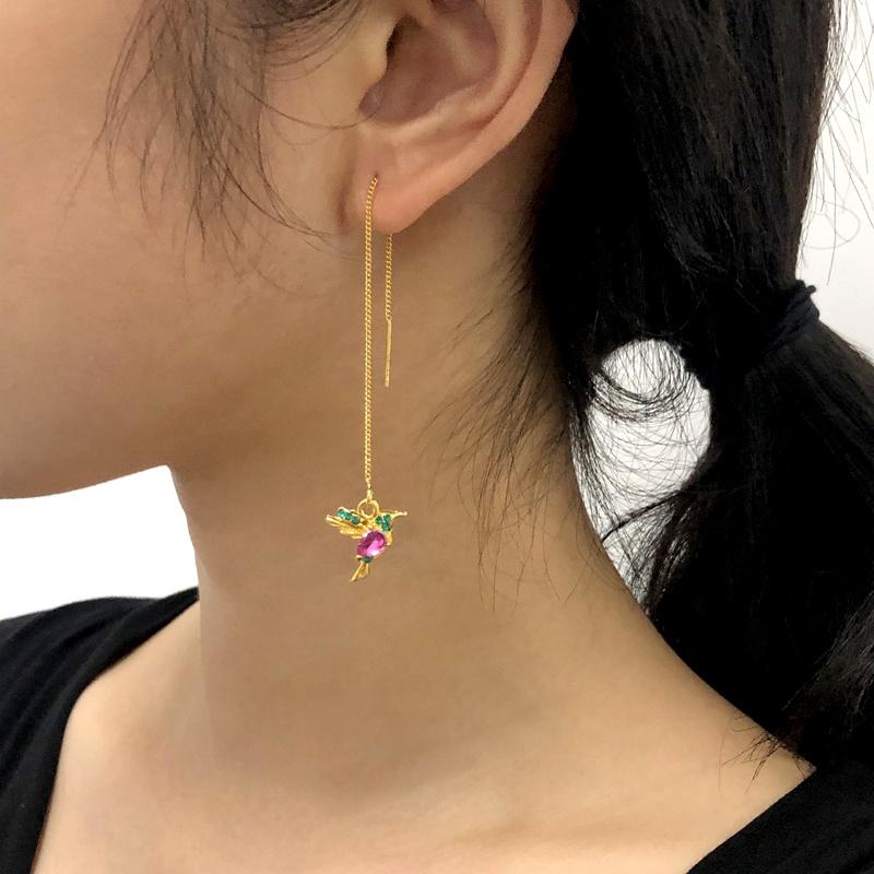 simple long exquisite small bird diamond earrings  NHMD283284