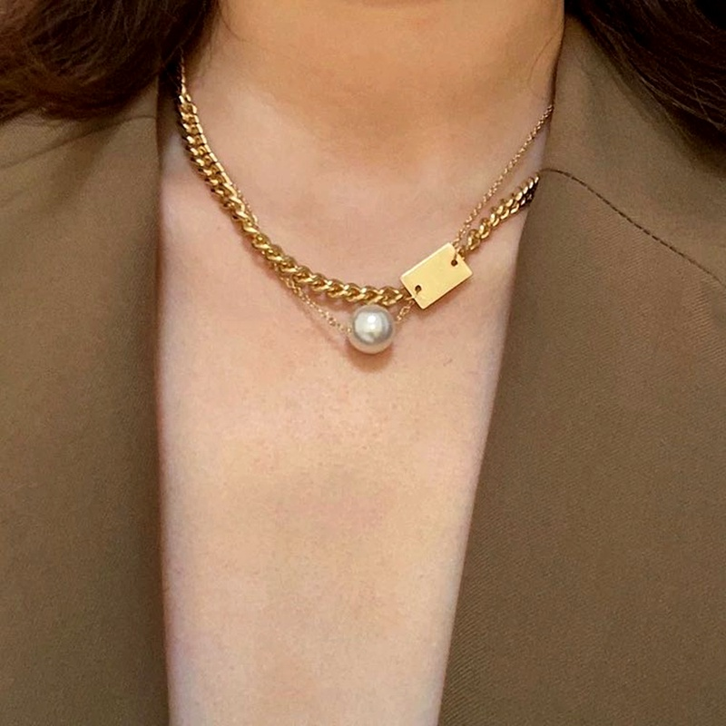 hip hop  simple pearl letter necklace  NHMD283296