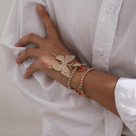 Bracelet de cerise papillon incrusté de mode de diamant de chaîne de griffe simple NHXR283301's discount tags