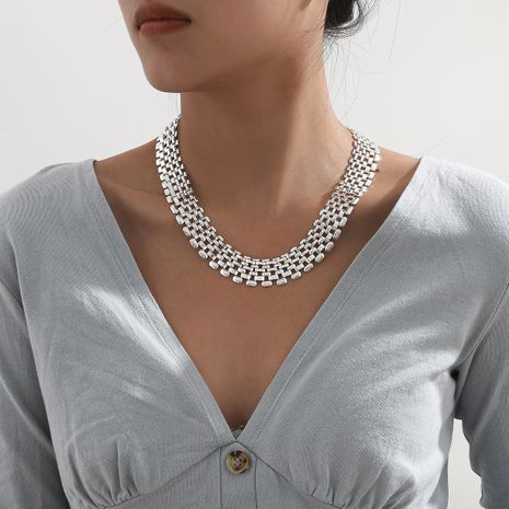 exaggerated  hollow chain necklace NHXR283302's discount tags