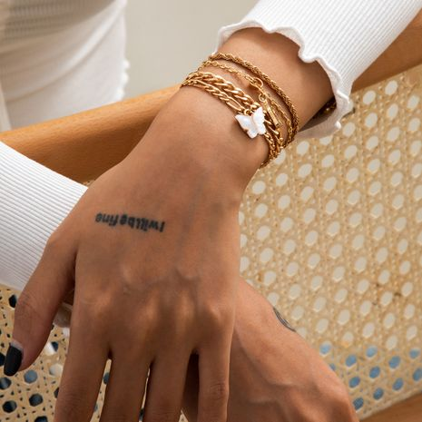 simple retro twist chain white butterfly bracelet set NHXR283317's discount tags
